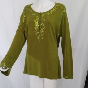 Avacado Green Sequin Sweater